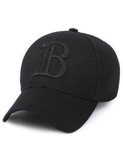 Casquette De Baseball Brodé Lettre B - Noir Profond