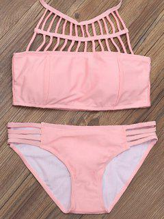 Lattice High Neck Bikini Top And Bottoms - Pink S