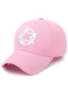 Embroidery Star Circle Baseball Cap - Shallow Pink