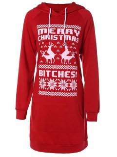 Printed Christmas Hoodie - Red 2xl