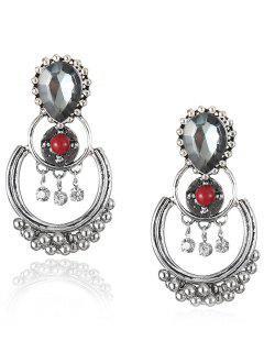 Bohemian Artificial Gemstone Beads Drop Earrings - Red