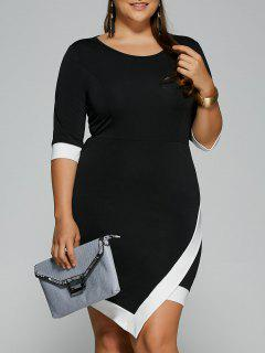 Overlap Contrast Trim Bandage Plus Size Dress - White And Black Xl