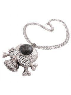 Collar De Diamantes De Imitación Colgante De La Forma Del Hueso Del Cráneo - Plata