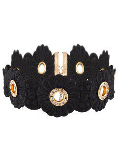 Collar Gargantilla De Terciopelo Flor Rhinestoned - Negro