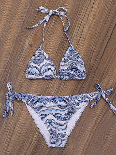Ripple Print Tie Side Plunge Bikini Set - Blue And White Xl