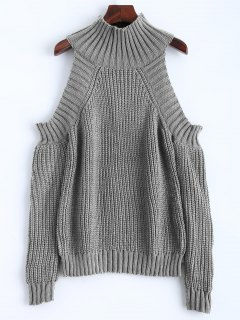 Cold Shoulder Funnel Collar Jumper - Gray