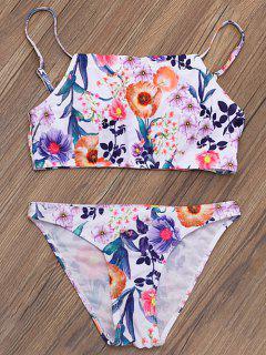 Haut Imprimer Cou Fleur Bikini - Floral S