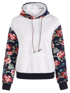 Floral Spliced Long Sleeve Pullover Hoodie - White M