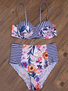 La Raya De La Impresión Floral De La Alta Subida Del Bikini - Multicolor L