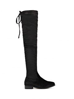 Tie Up Zip Flat Heel Thigh Boots - Black 37