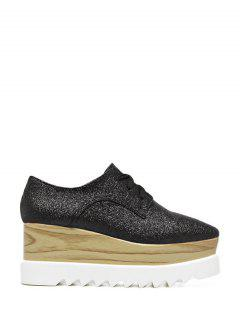 Sequined Tie Up Square Toe Wedge Shoes - Black 38