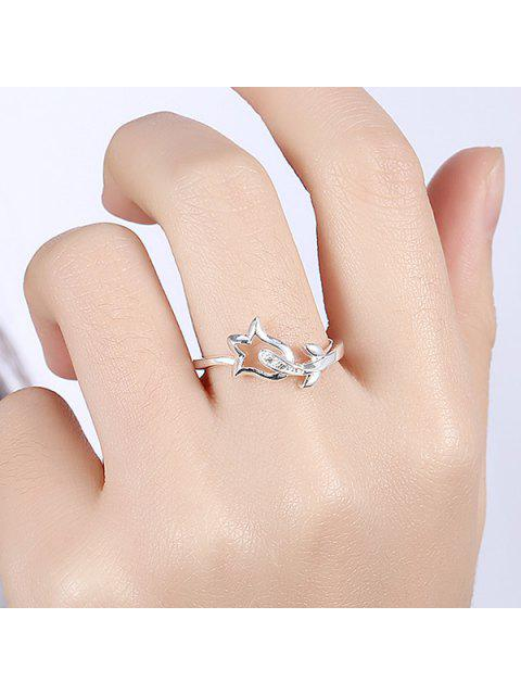 fancy Rhinestone Flower Ring - SILVER 8 Mobile