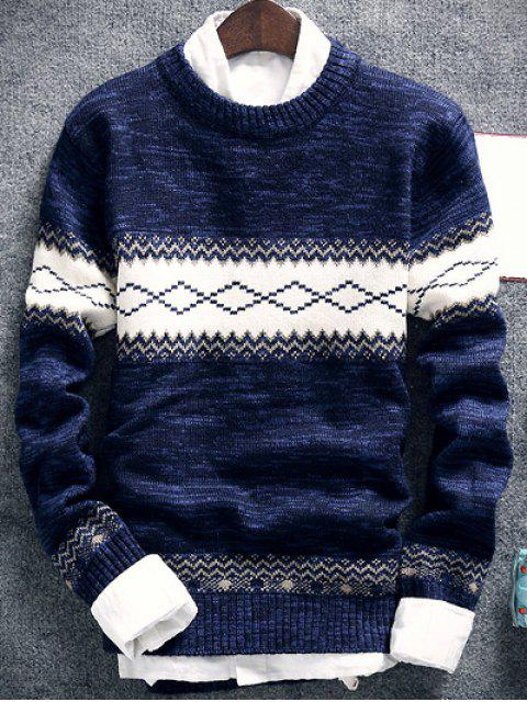 Suéter Cuello Redondo Espacio de Tinta Estampado Geométrico - Azul Marino  2XL Mobile
