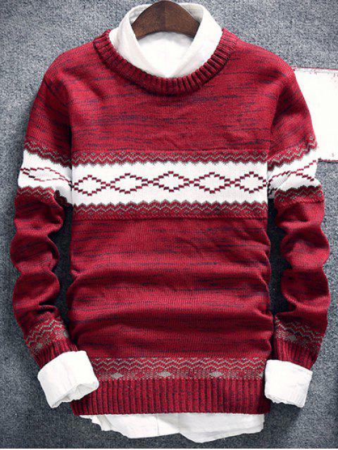 buy Geometric Pattern Space Dye Crew Neck Sweater - BURGUNDY M Mobile