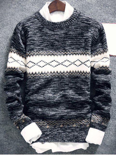 online Geometric Pattern Space Dye Crew Neck Sweater - DEEP GRAY XL Mobile