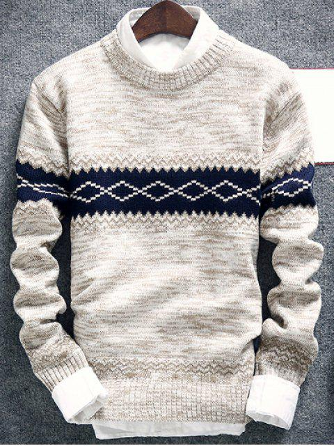 shops Geometric Pattern Space Dye Crew Neck Sweater - OFF-WHITE 2XL Mobile