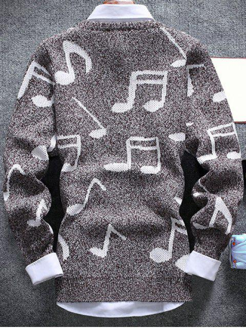 women's Music Note Pattern Crew Neck Sweater - COFFEE 2XL Mobile