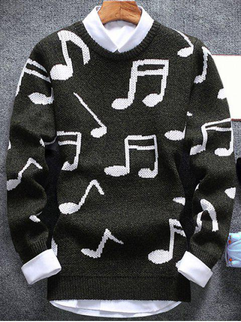 buy Music Note Pattern Crew Neck Sweater - ARMY GREEN 2XL Mobile