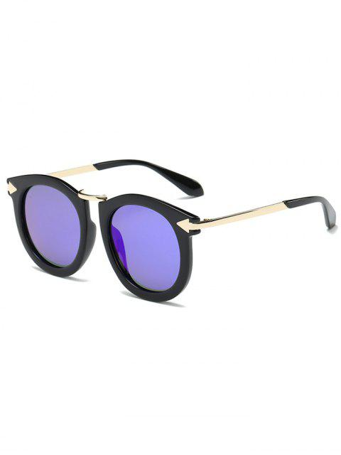 fashion Arrow Mark Oval Mirrored Sunglasses - BLUE  Mobile