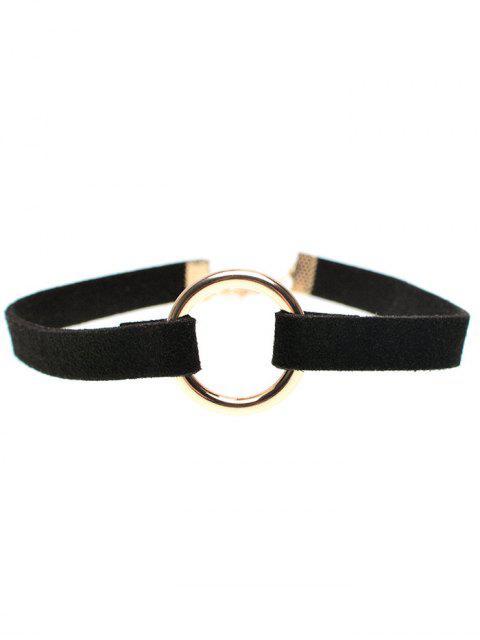Collier ras-de-cou anneau en cuivre bande en velours - Noir  Mobile