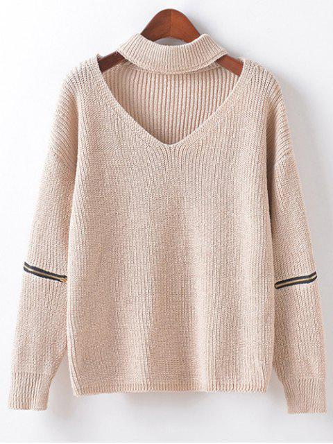 new Zippered Sleeve Choker Jumper - BEIGE ONE SIZE Mobile