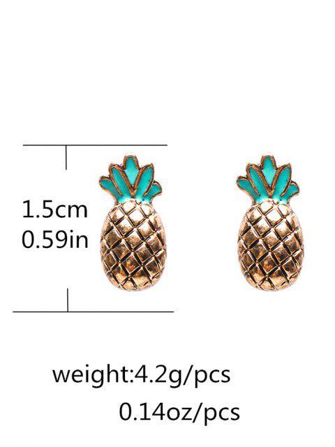 fashion Enameled Pineapple Stud Earrings - BRONZE-COLORED  Mobile