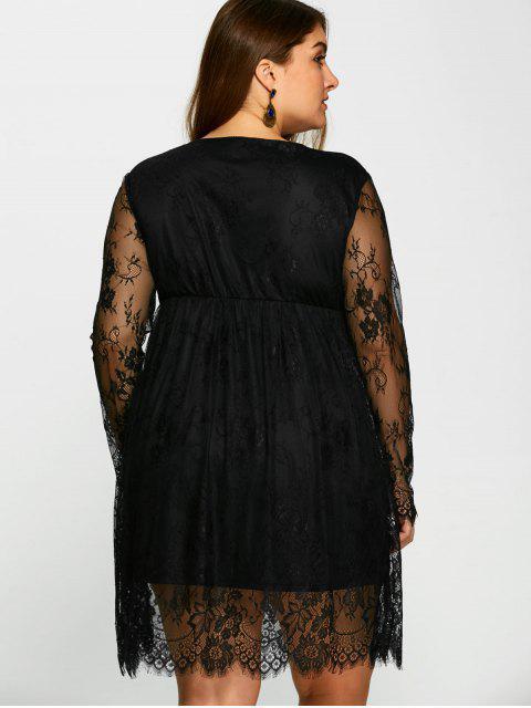sale Empire Waist Lace Plus Size Dress - BLACK 3XL Mobile