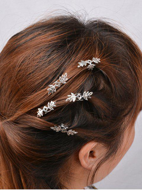 women 5PCS Openwork Floral Hair Accessory Set - SILVER  Mobile