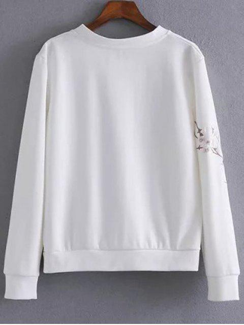best Floral Bird Embroidered Sweatshirt - WHITE S Mobile
