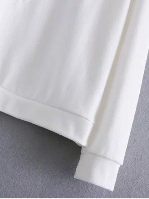 ladies Floral Bird Embroidered Sweatshirt - WHITE L Mobile