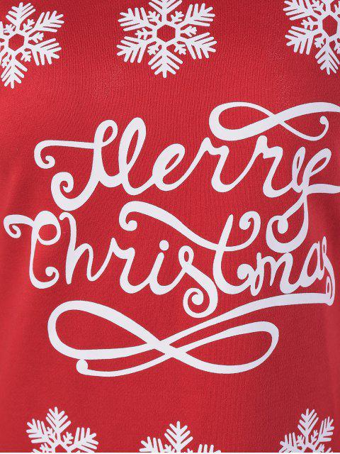 shop Snowflake Pattern Skew Collar Sweatshirt Dress - RED WITH WHITE XL Mobile