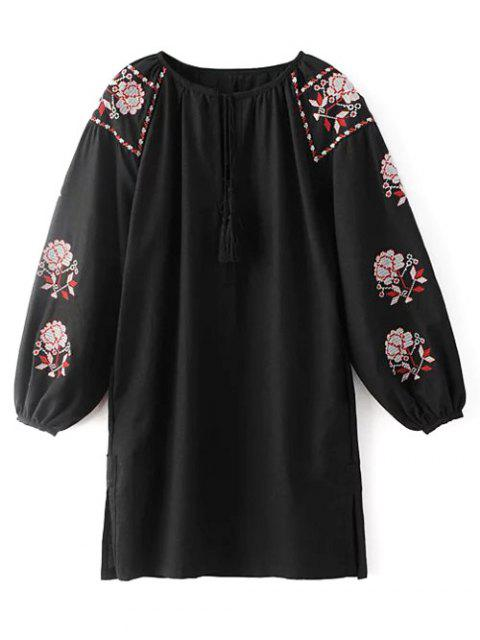 online Lantern Sleeve Embroidered Tunic Blouse - BLACK M Mobile