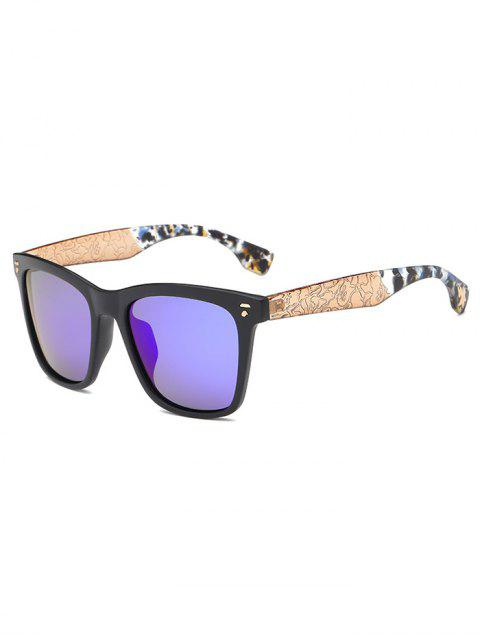 buy Crack and Camouflage Panel Mirrored Sunglasses - BLUE  Mobile