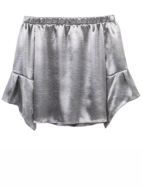 fashion Off The Shoulder Velvet Smcok Top - SILVER S Mobile