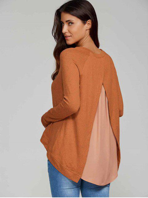 latest High Low Back Slit Knitwear - CAMEL M Mobile
