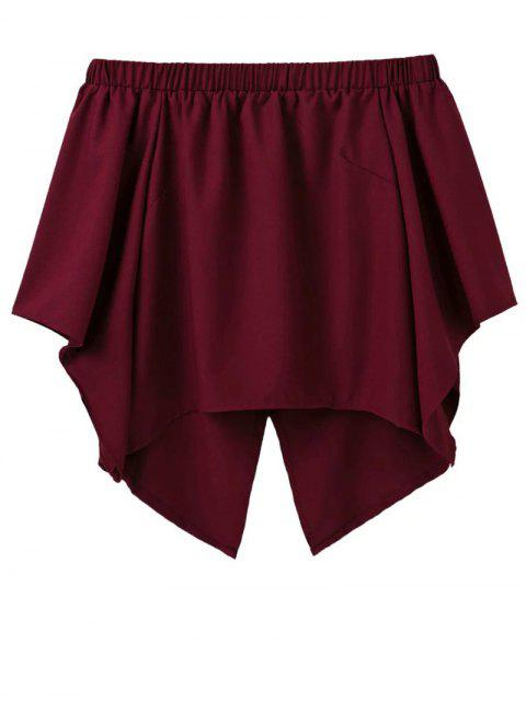 women Off The Shoulder Crossover Back Smock Top - BURGUNDY M Mobile