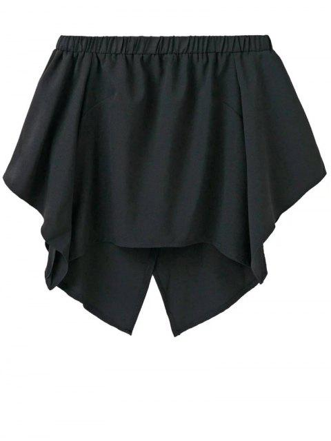 ladies Off The Shoulder Crossover Back Smock Top - BLACK L Mobile