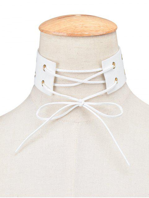 latest Bowknot Faux Leather Choker - WHITE  Mobile