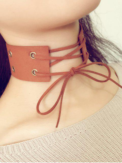 fancy Bowknot Faux Leather Choker - BROWN  Mobile