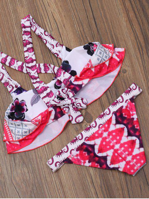 unique Printed Layered Ruffles Bikini Set - MULTICOLOR M Mobile