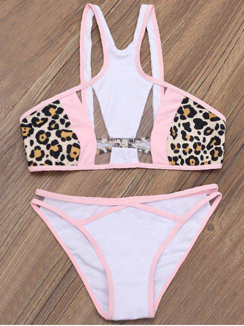 buy Mesh Panel High Neck Sheer Bathing Suit - LEOPARD L Mobile