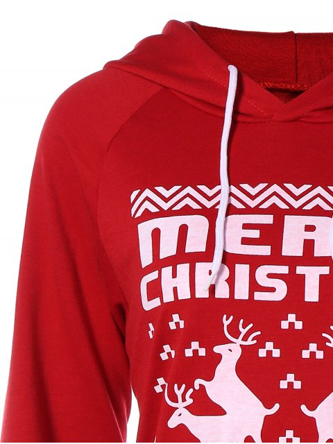 latest Printed Christmas Hoodie - RED 2XL Mobile