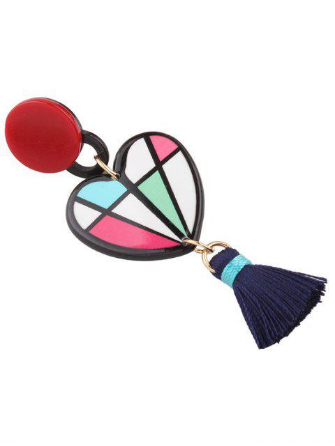 Boucles d'oreilles asymétriques  à pendentif de coeur frange et rouge à lèvres - Multicolore  Mobile
