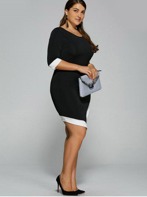 chic Overlap Contrast Trim Bandage Plus Size Dress - WHITE AND BLACK XL Mobile