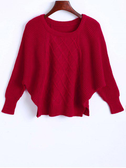 shop Argyle Batwing Sleeve Sweater - RED L Mobile