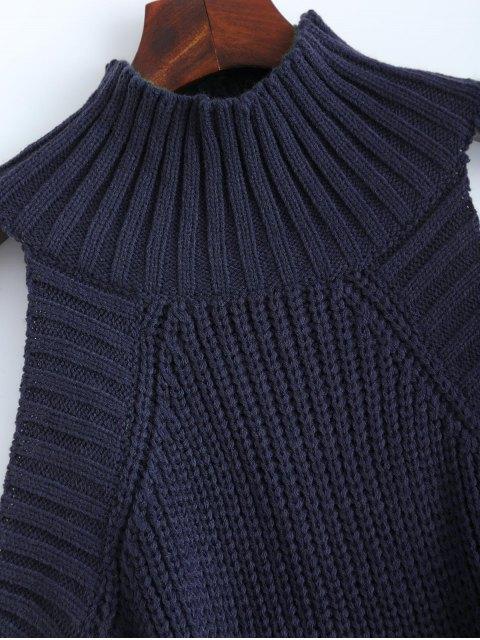 Pull à col cheminé épaules dénudées - Bleu Cadette TAILLE MOYENNE Mobile