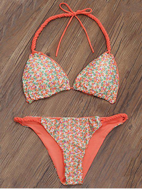 fancy Braided Tiny Floral Thong Bikini - ORANGE L Mobile