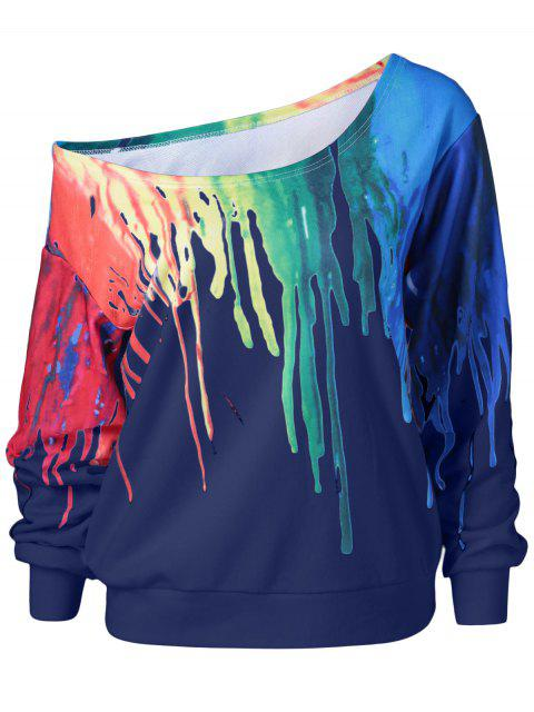 womens Skew Collar Dripping Paint Sweatshirt - BLUE XL Mobile