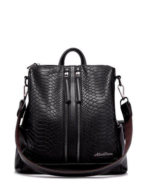 womens Snake Embossed Multi Zips Backpack - BLACK  Mobile