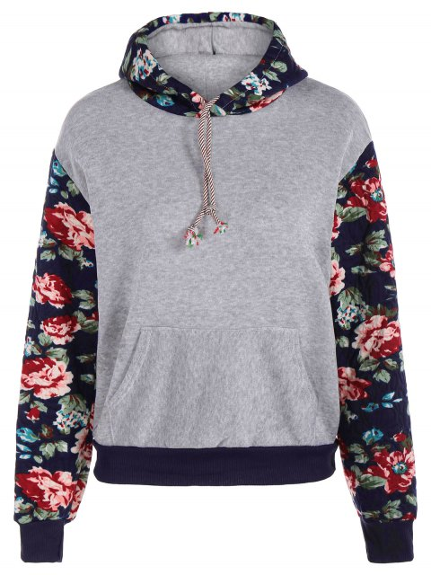 fancy Floral Spliced Long Sleeve Pullover Hoodie - LIGHT GRAY M Mobile